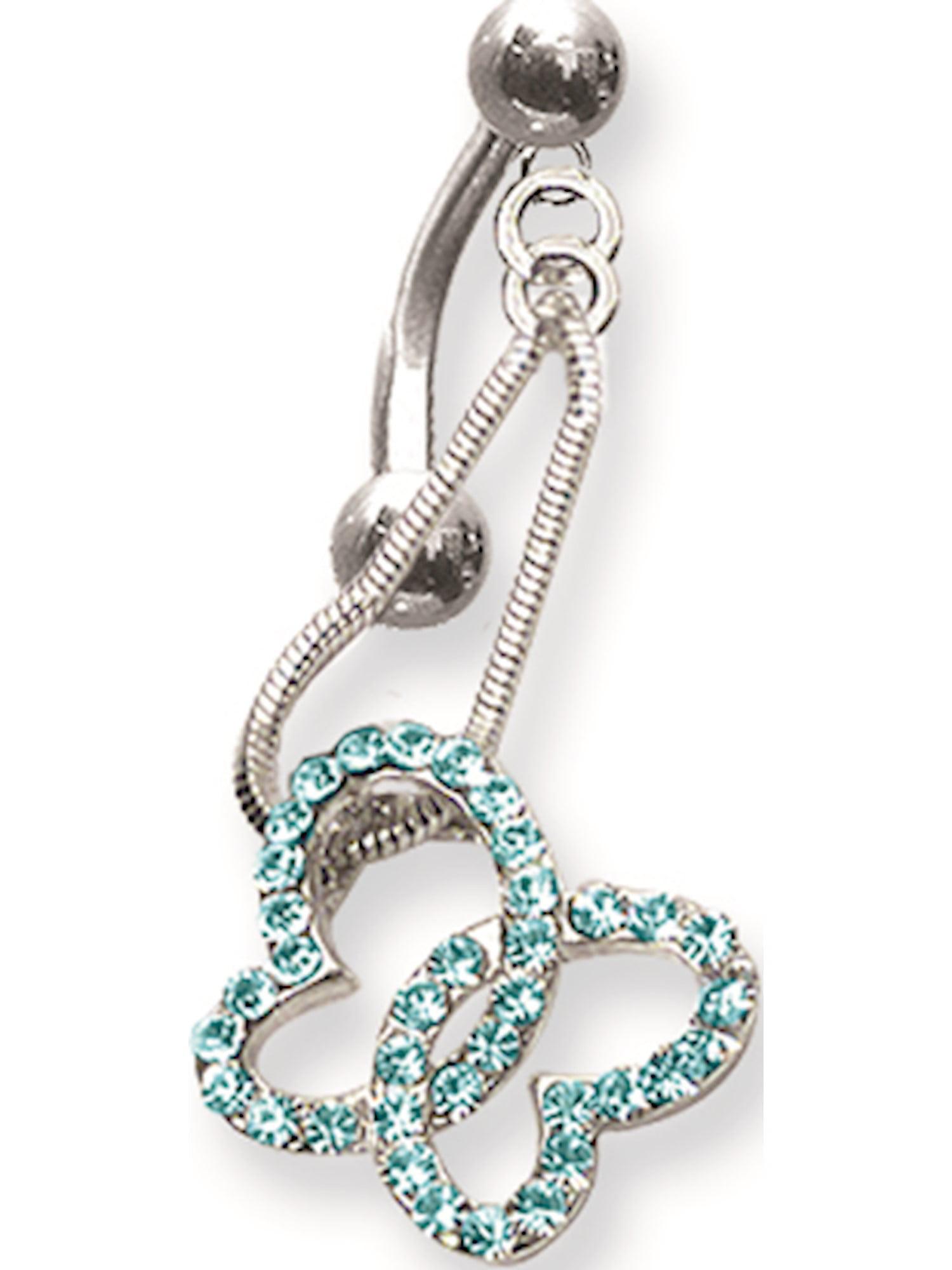 Long Curv Jewelry by Sweet Pea SGSS Curv BB w Fancy Gem Top Dangle 14G 11mm 13//32 1.6mm
