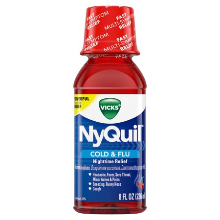 Vicks NyQuil, Nighttime Cold & Flu Symptom Relief, Relives Aches, Fever, Sore Throat, Sneezing, Runny Nose, Cough, 8 Fl Oz, Cherry