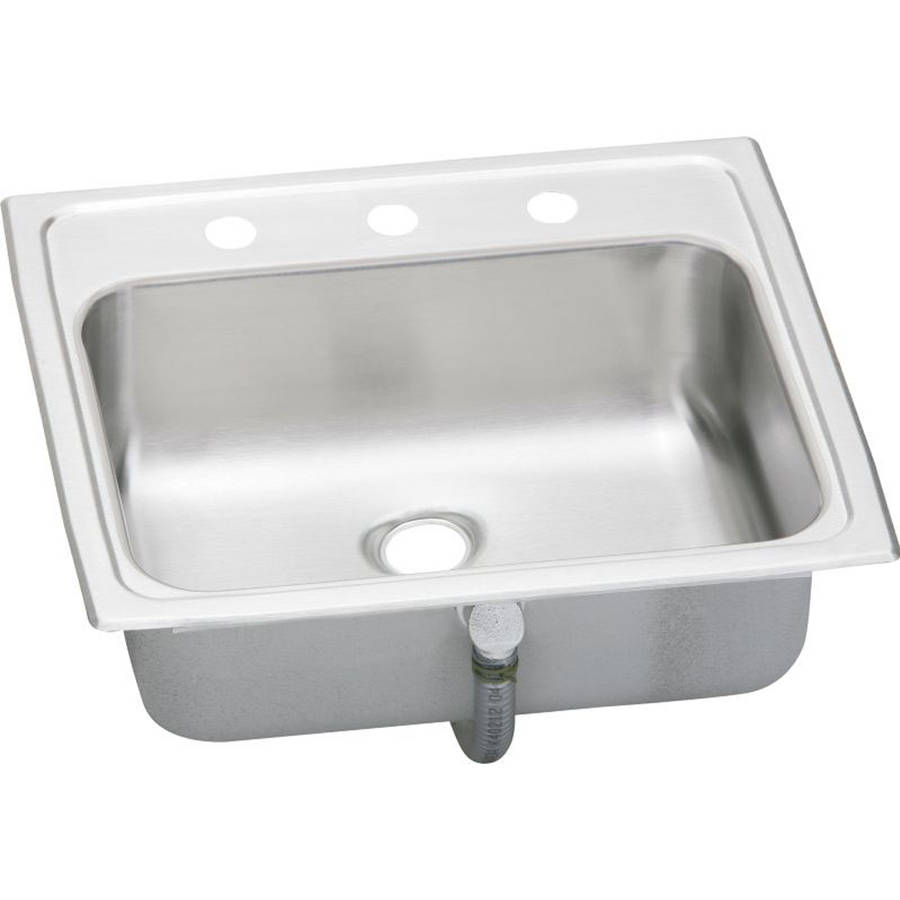 Elkay PSLVR19173 Asana Pacemaker Stainless Steel Single Bowl Top Mount Sink with 3 Faucet Holes