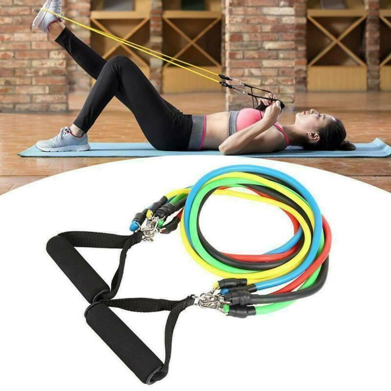 12PCS Latex Yoga Strap Resistance Bands Exercise Home Gym Tube Fitness Elastic