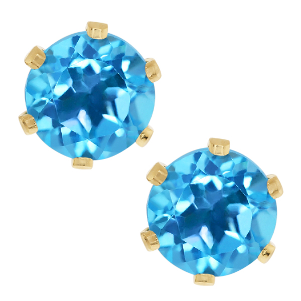 2.00 Ct Round Blue Topaz Gold Plated Stud Earrings 6MM