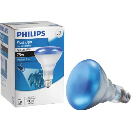 Blue Reflector Floodlight (Philips 75w 120v BR30 Agro-Blue E26 Reflector plant growth Light Bulb)