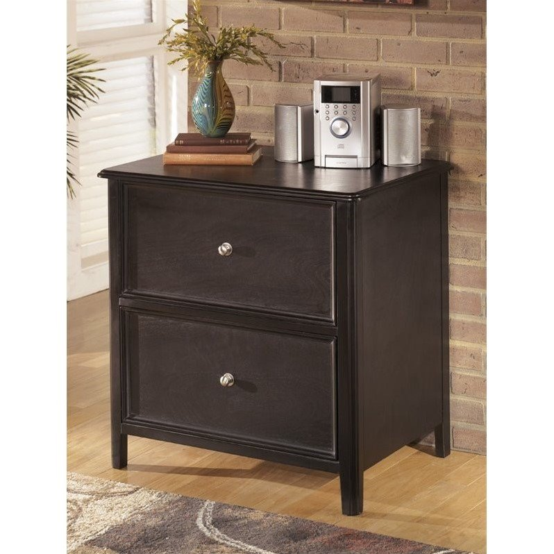 ashley carlyle 2 drawer lateral file cabinet in almost black - 2 Drawer Lateral File Cabinet