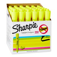 Sharpie Tank Style Highlighters, Chisel Tip, Fluorescent Yellow, Box of 36