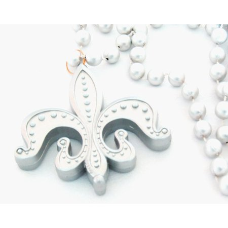 Fleur de Lis Silver Mardi Gras Beads New Orleans Carnival Bayou Lousianna Cajun Creole Party, Genuine Specialty Mardi Gras Theme Beads Ship from US - Mardi Gras Float Themes