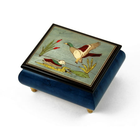 Handcrafted Birds theme Italian Music Box with Ducks and pond - 12 Days of (Halloween Is Over Now It's Christmas)