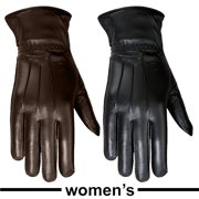 Ladies Warm Winter Gloves Dress Gloves Thermal Lining Geniune Leather (WOMEN BLACK, Large)
