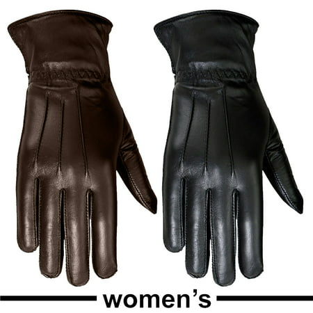 Ladies Warm Winter Gloves Dress Gloves Thermal Lining Geniune Leather (WOMEN BLACK,