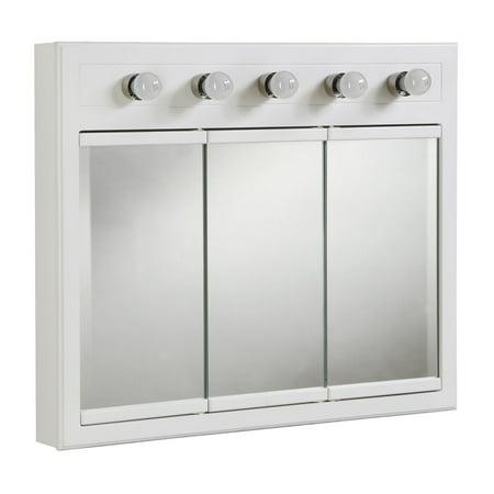 Design House 532390 Concord Lighted 3-Door Medicine Cabinet Mirror 36