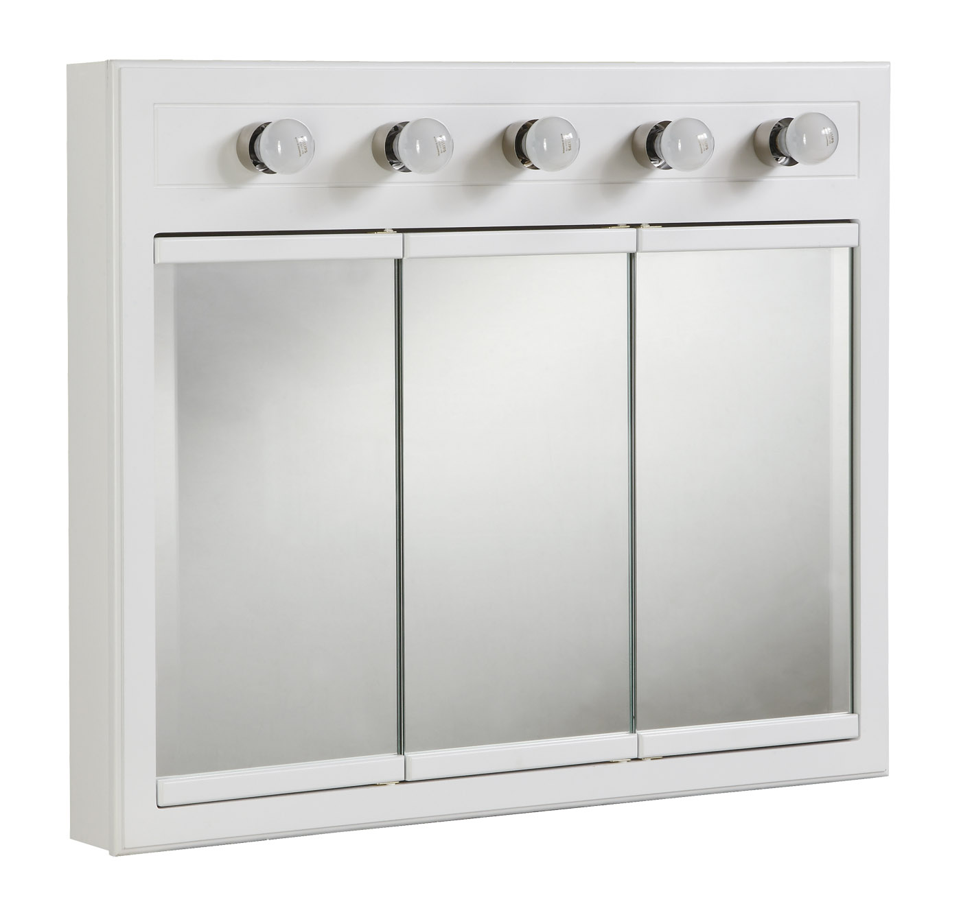 "Design House 532390 Concord Lighted 3-Door Medicine Cabinet Mirror 36"", White"