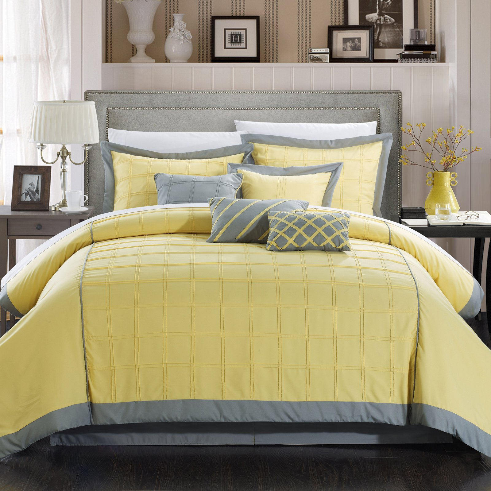 Chic Home Oversized and Overfilled Reynold Pintuck Color Block 8-Piece Comforter Set