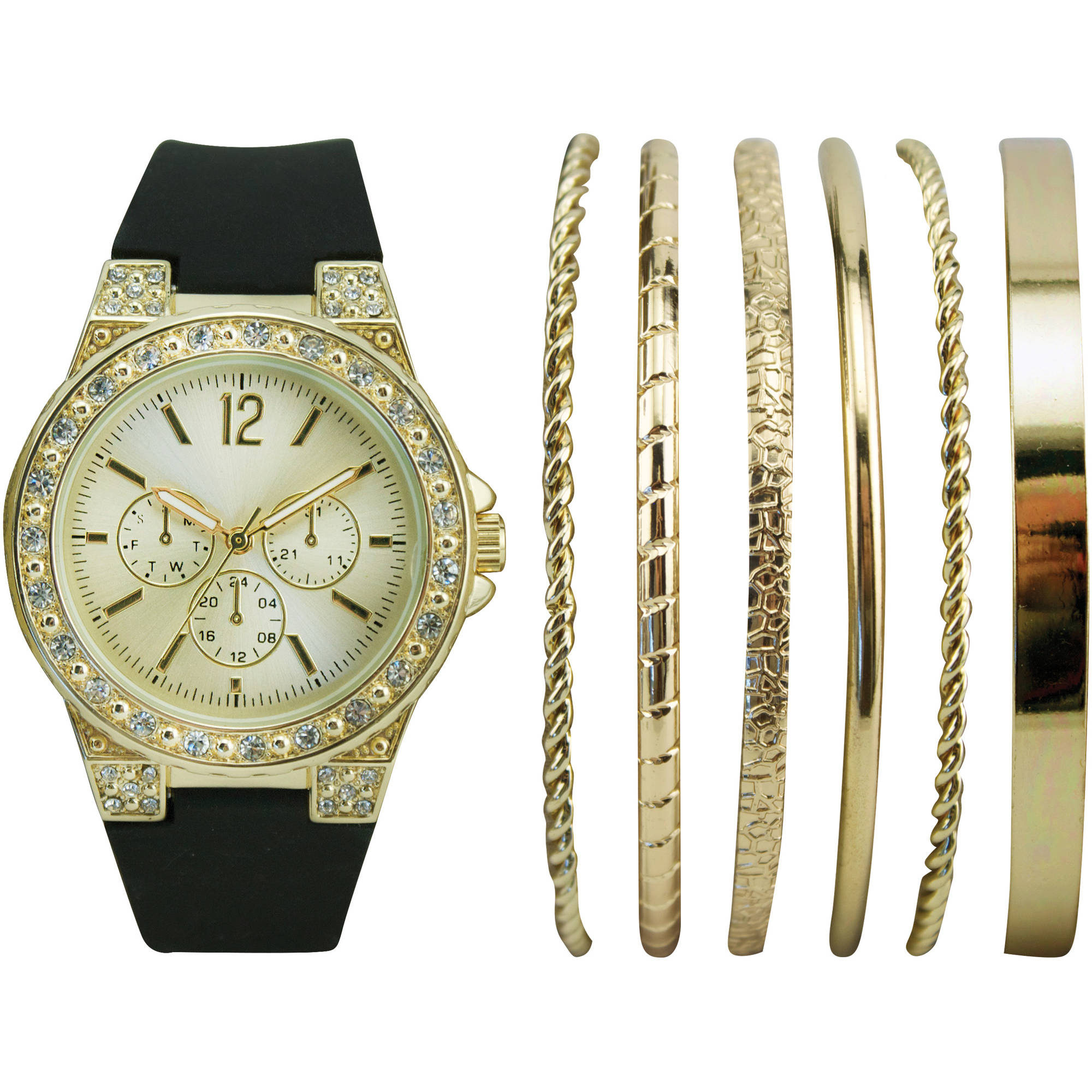 Women's Stackable Gold Watch Set with 6 Assorted Bracelets