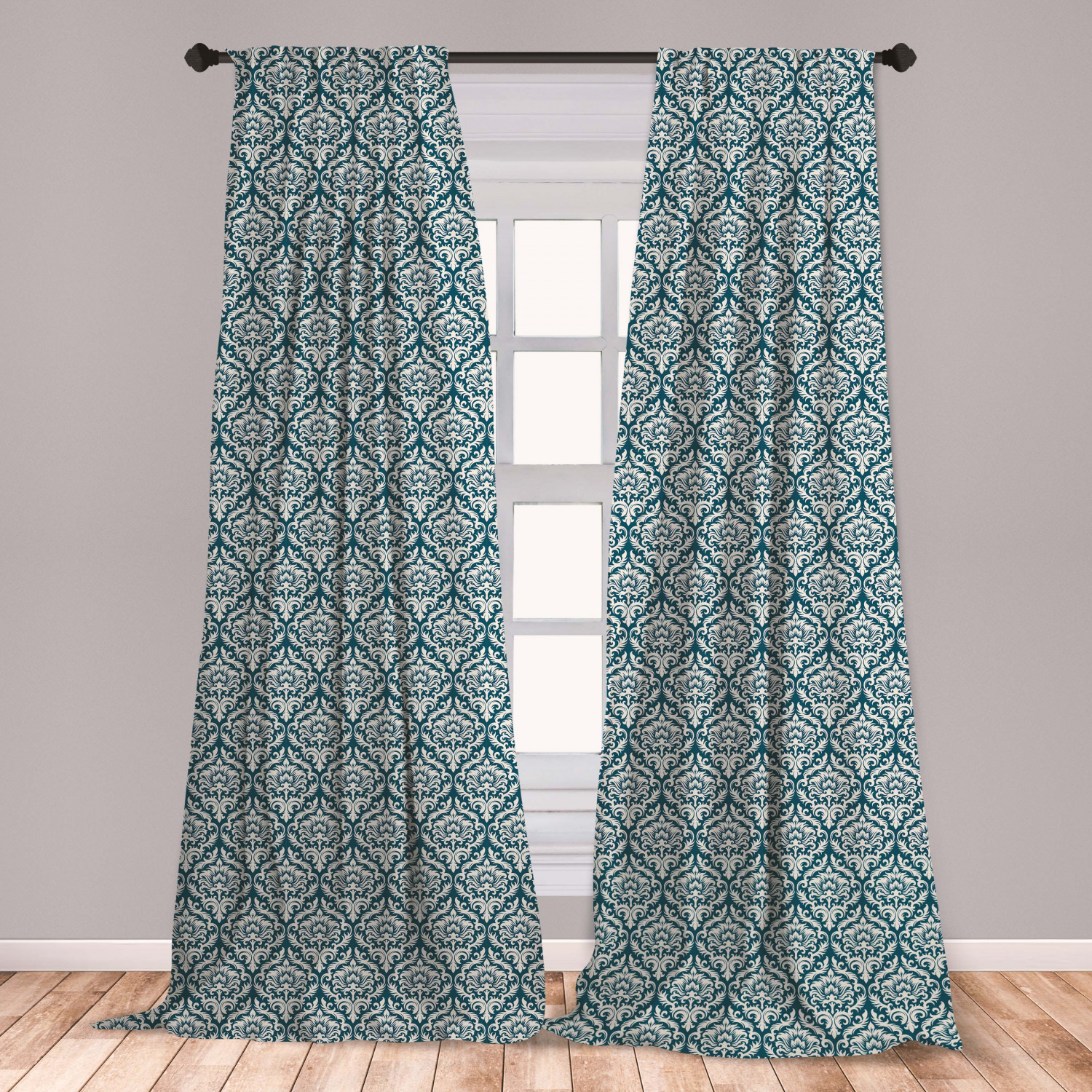 Victorian Curtains 2 Panels Set Fashionable Modern Country Style Abstract Illustrated Antiquity Vintage Window Drapes For Living Room Bedroom Navy Blue Cream By Ambesonne Walmart Com Walmart Com