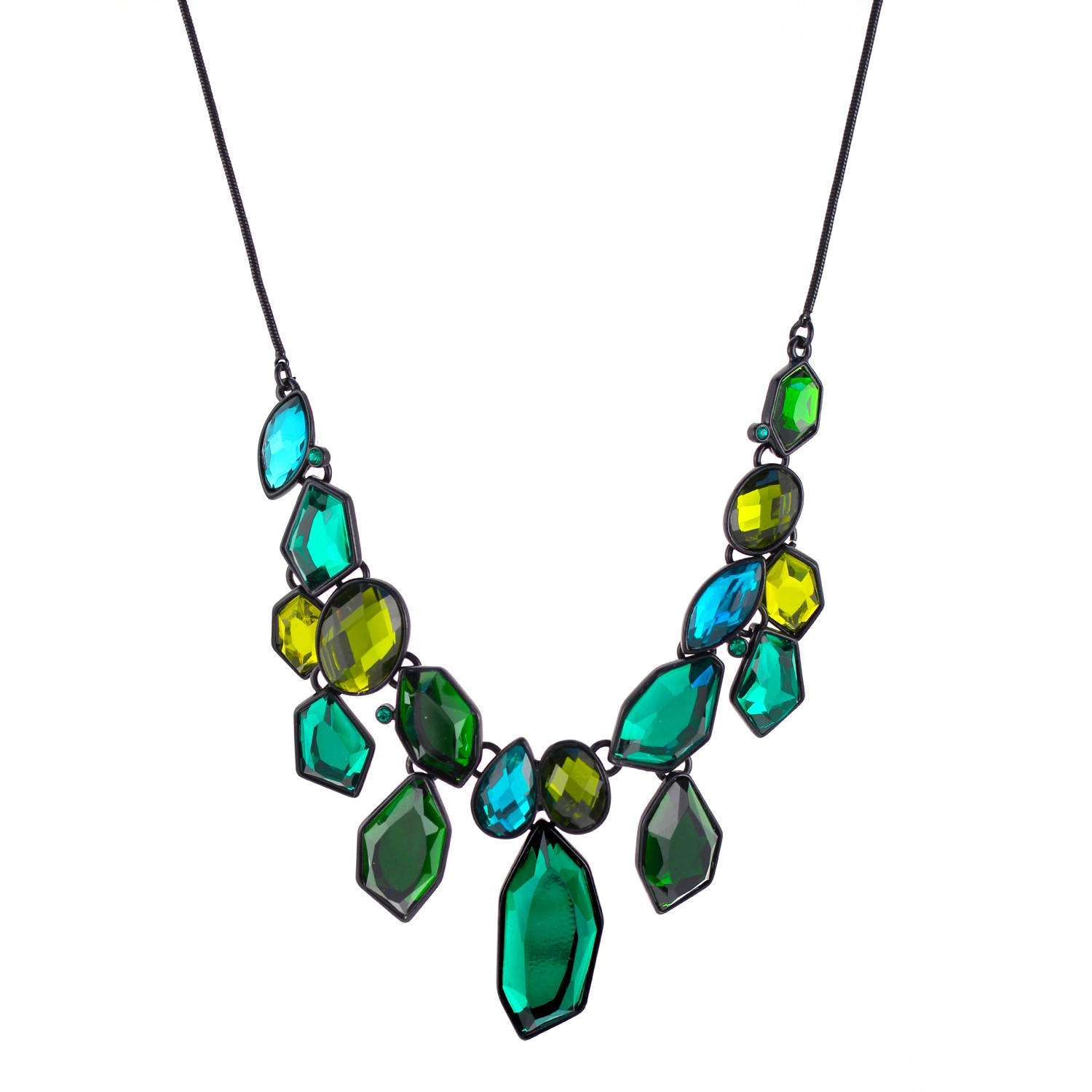 TAZZA WOMEN'S  GREEN CRYSTAL STATEMENT NECKLACES