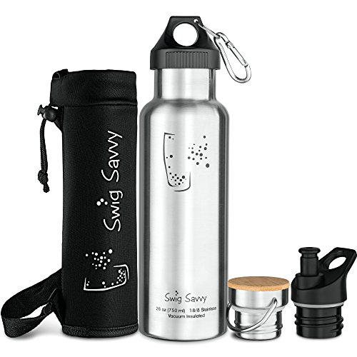 Swig Savvy's Stainless Steel Vacuum Insulated Water Bottle, Standard Mouth , Double Wall Design, with 3 Interchangeable Caps - Including Water Bottle Pouch