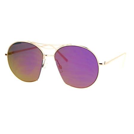 Purple Round Runway Aviator Gold Expose Sunglasses Unique Mirror Sa106 Womens Lens b6g7fy