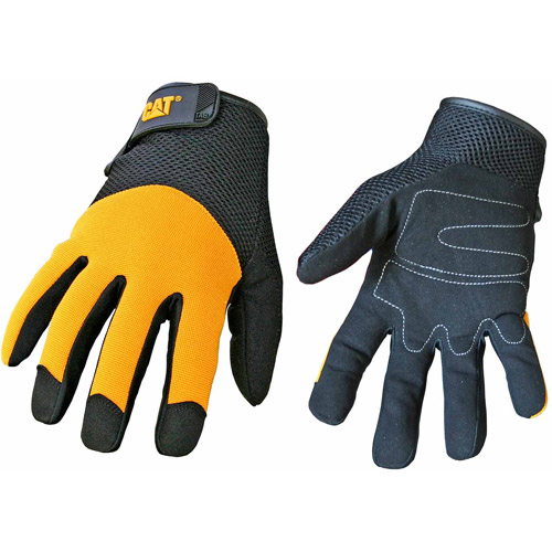 CAT Large Yellow Spandex Back Gloves
