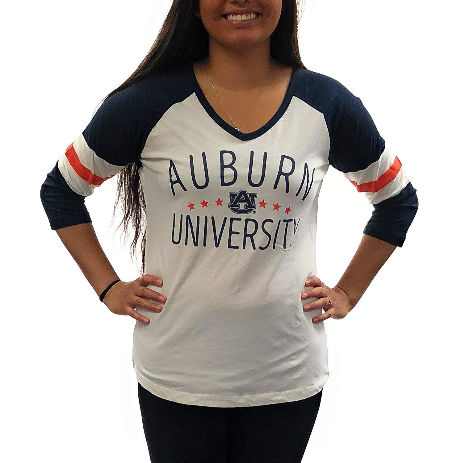 Royce Apparel Auburn Tigers Womens Jersey V-Neck T-Shirt University Clothing Apparel