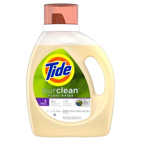 Tide Purclean, Plant-based Liquid Laundry Detergent, Honey Lavender, 48 loads 75 fl oz - Roll Tide Colors