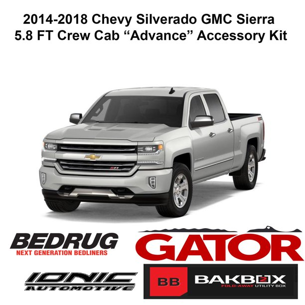 Gator Advance Accessory Kit Fits 2014 2018 Chevy Silverado Sierra Crew Cab 5 8 Ft Bed Gator