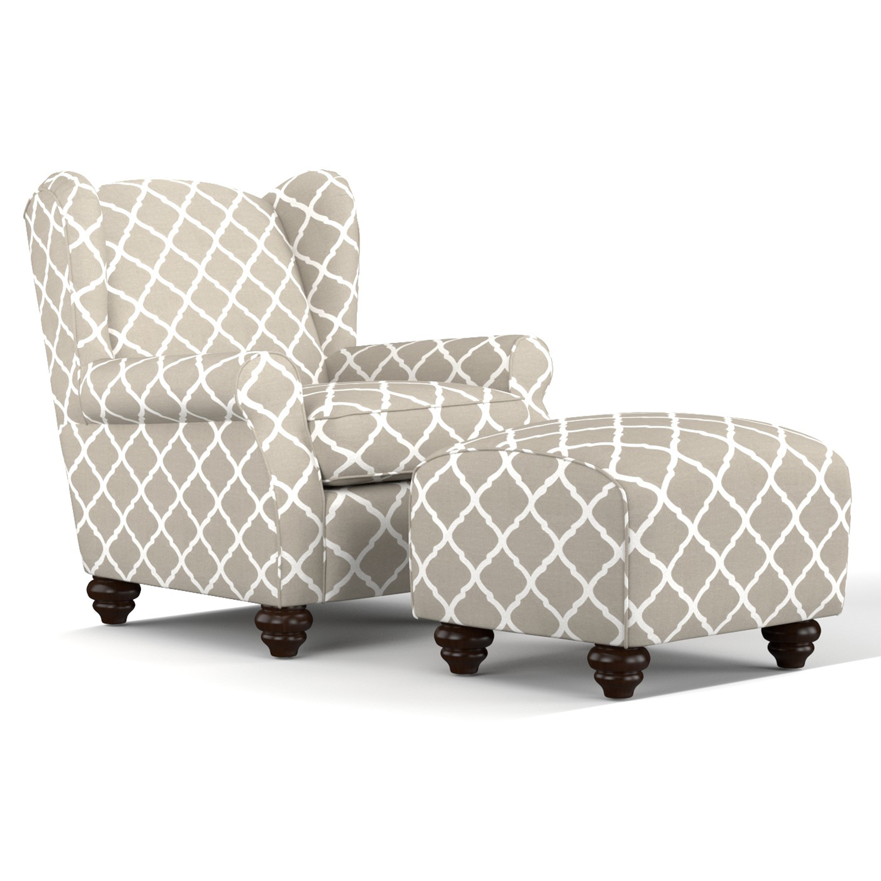 Handy Living  Hana Barley Tan Trellis Wingback Chair and Ottoman Set