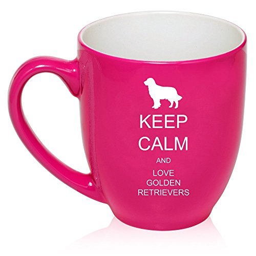16 oz Large Bistro Mug Ceramic Coffee Tea Glass Cup Keep Calm and Love Golden Retrievers (Hot Pink)