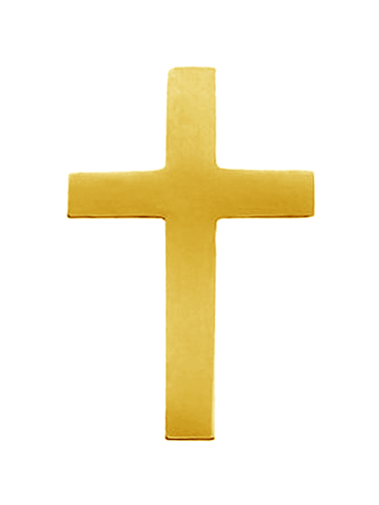 14K Yellow Gold Simple Latin Cross Pin Brooch by