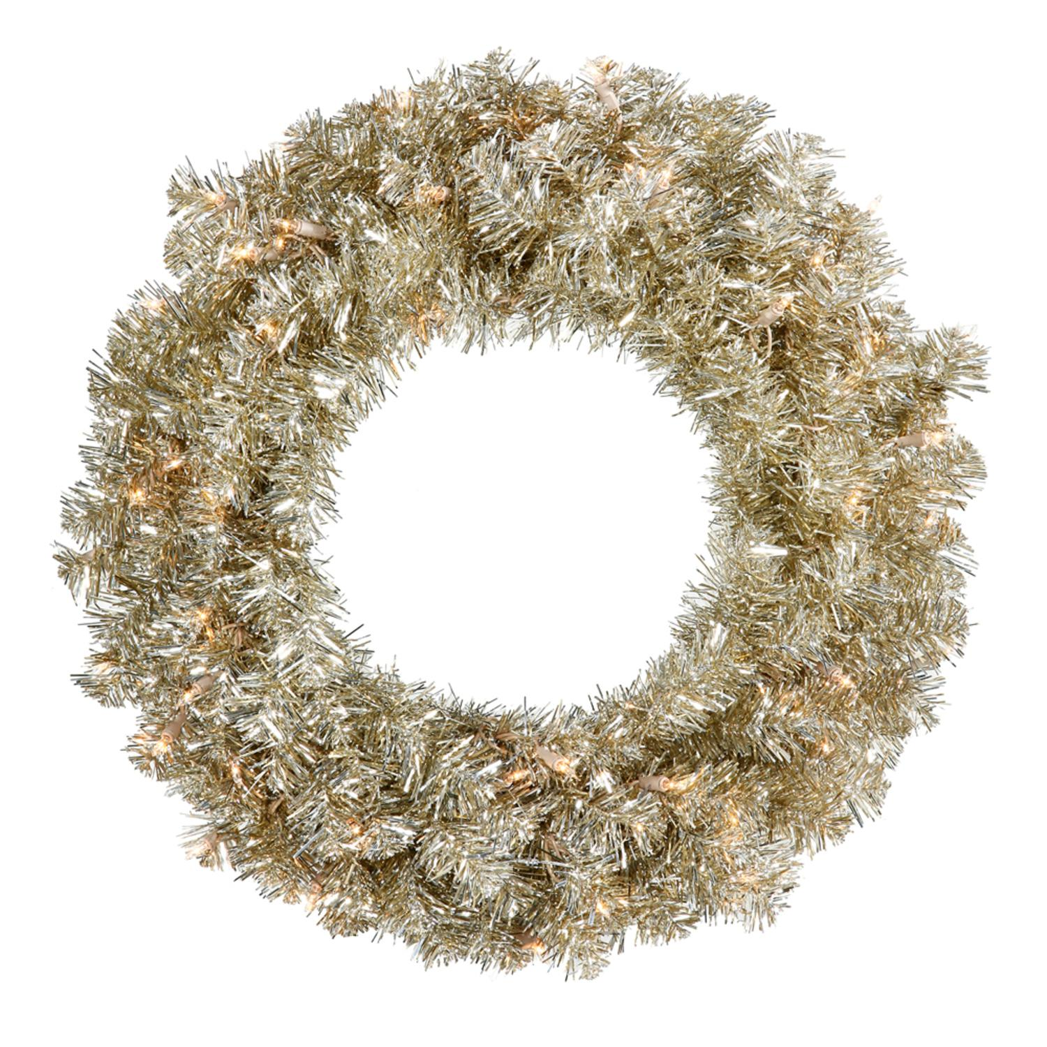 "30"" Pre-Lit Sparkling Champagne Tinsel Artificial Christmas Wreath -Clear Lights"