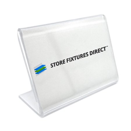 Small Counter Top Acrylic Sign Holder, L Shaped Card Holder, 2.5