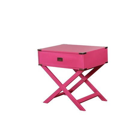 Linon Peggy X Base Wood Accent Table in Pink - image 7 de 11