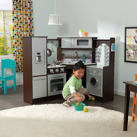 Cook Together Kitchen - KidKraft Ultimate Corner Play Kitchen with Lights & Sounds - Espresso