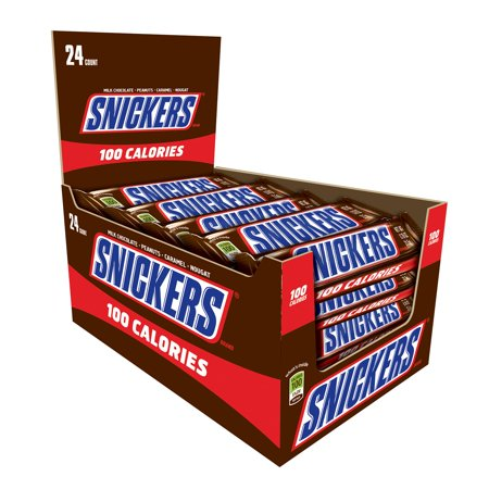 SNICKERS 100 Calories Chocolate Candy Bars, 0.76 oz 24 Pack