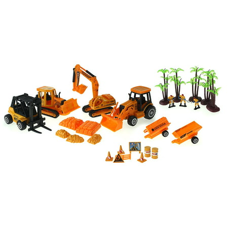 Super Power Century Construction Toy Construction Vehicle Die Cast Car Play Set w/ 4 Vehicles, 3 Construction Worker Figures, & Accessories - Village People Construction Worker