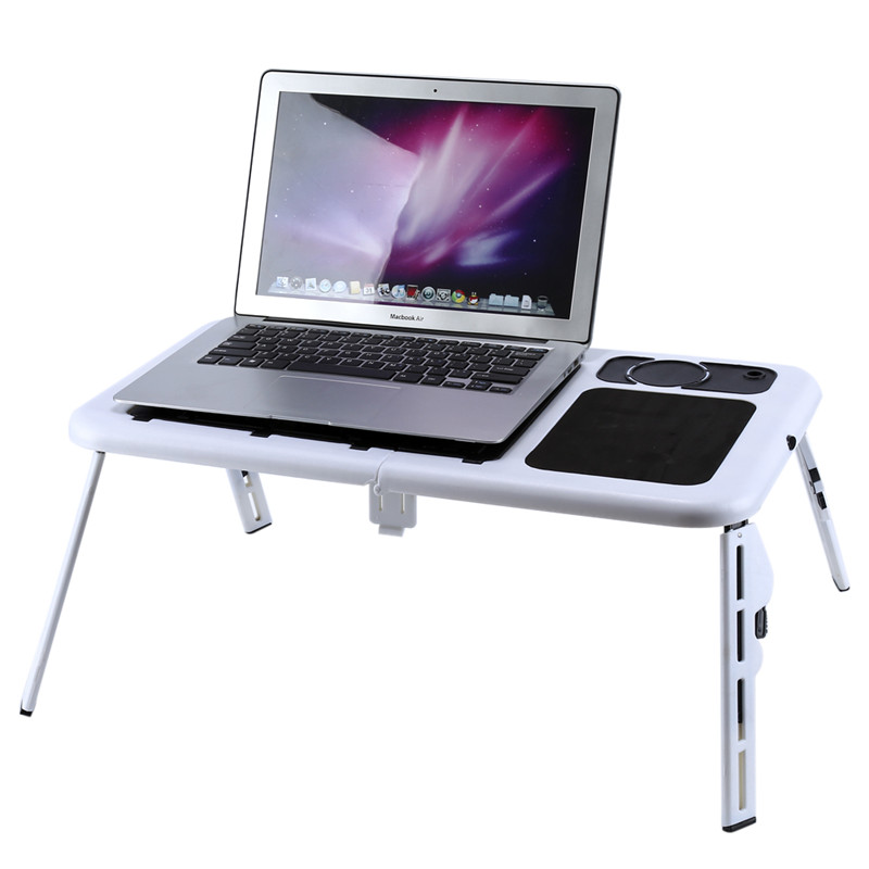 Adjustable Foldable Table Laptop Lap Desk for Bed Notebook Table Over Bed Sofa Stand Tray with USB Cooling Fans Cup Holder and Mouse Pad