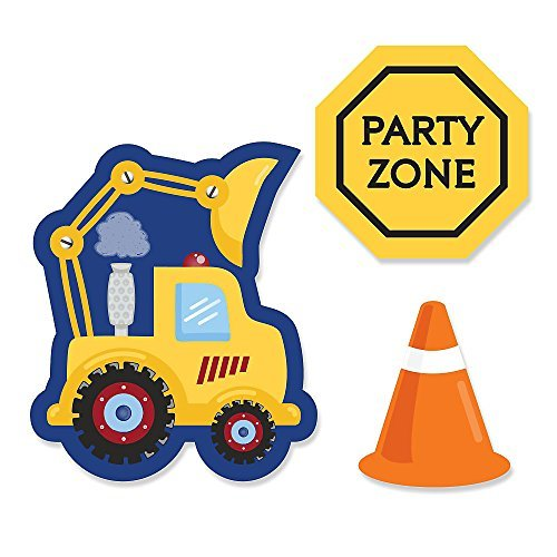 Construction Truck - DIY Shaped Baby Shower or Birthday Party Cut-Outs - 24 Count