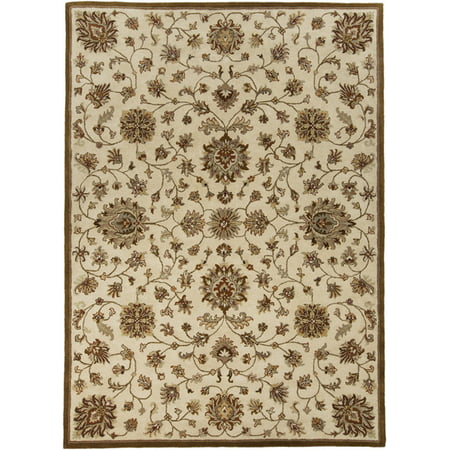 2' x 3' Fiori Beati Ivory, Mocha Brown and Tan Hand Tufted Wool Area Throw