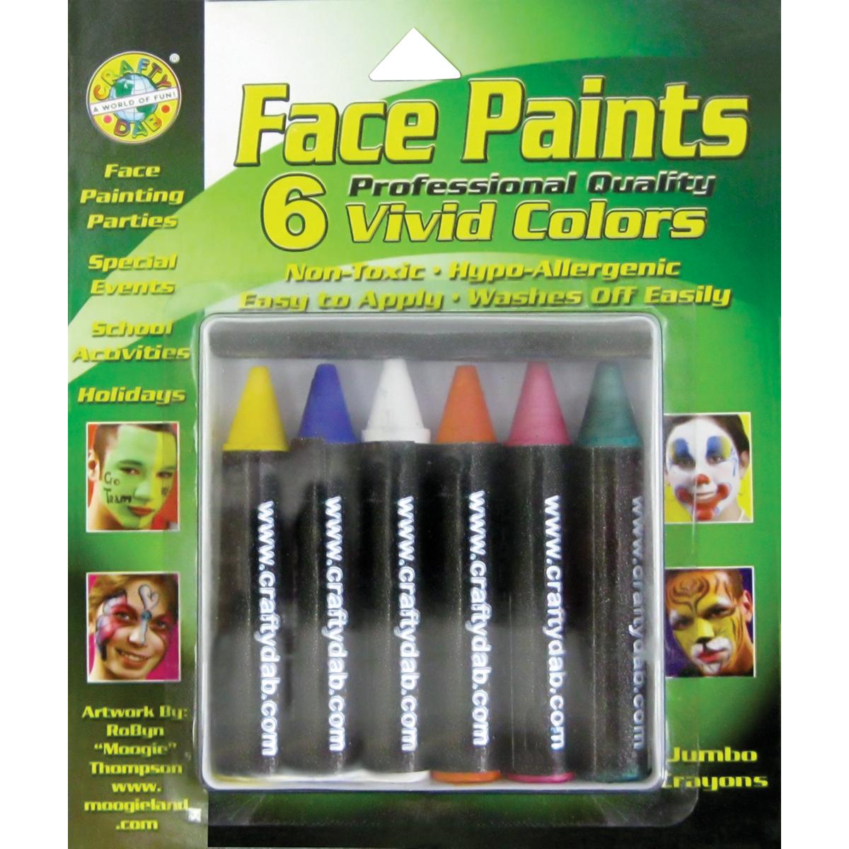 Face Paint Jumbo Crayons 6/Pkg-Vivid