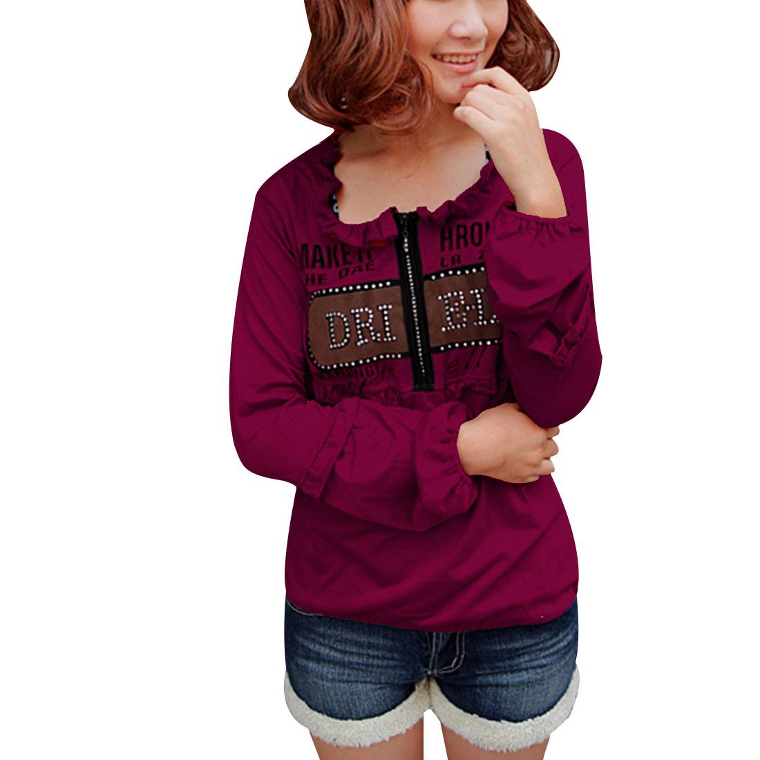 Ladies Amaranth Red Elastic Sleeves Cuff Ruffled Neckline T-shirt XS