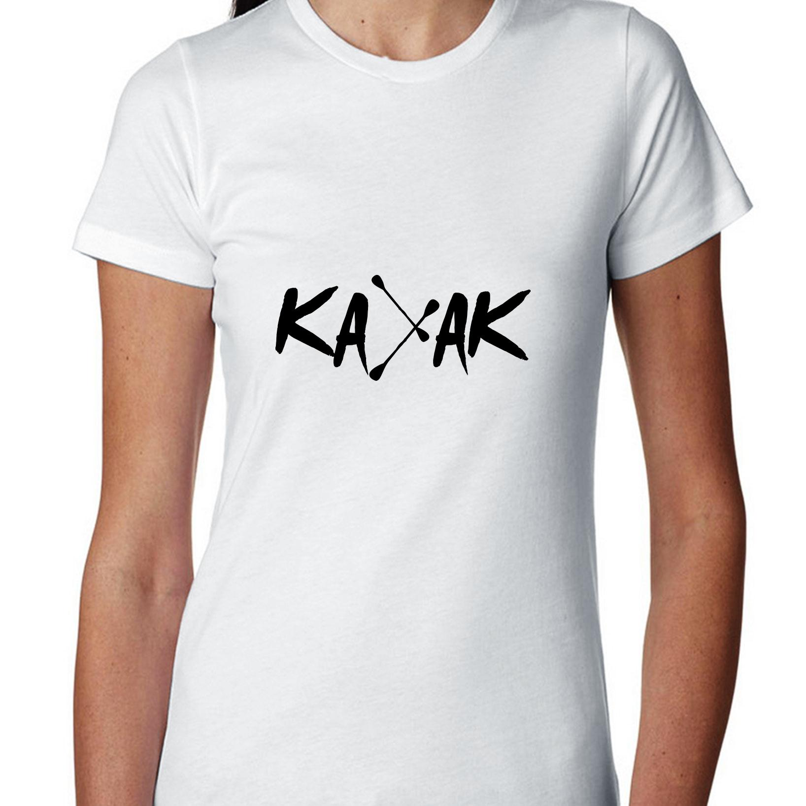 Kayak With Paddle Font Trendy Kayaker Women's Cotton T-Shirt