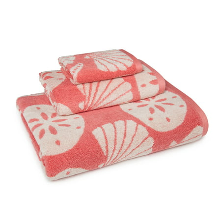 Image of Coastal Shades Shell 3 Piece Towel Set in Coral
