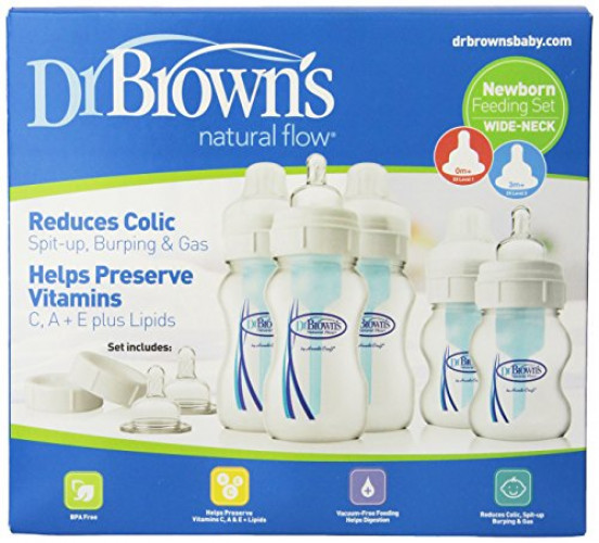 Dr Brown/'s Original Wide-Neck Bottle Newborn Feeding Set