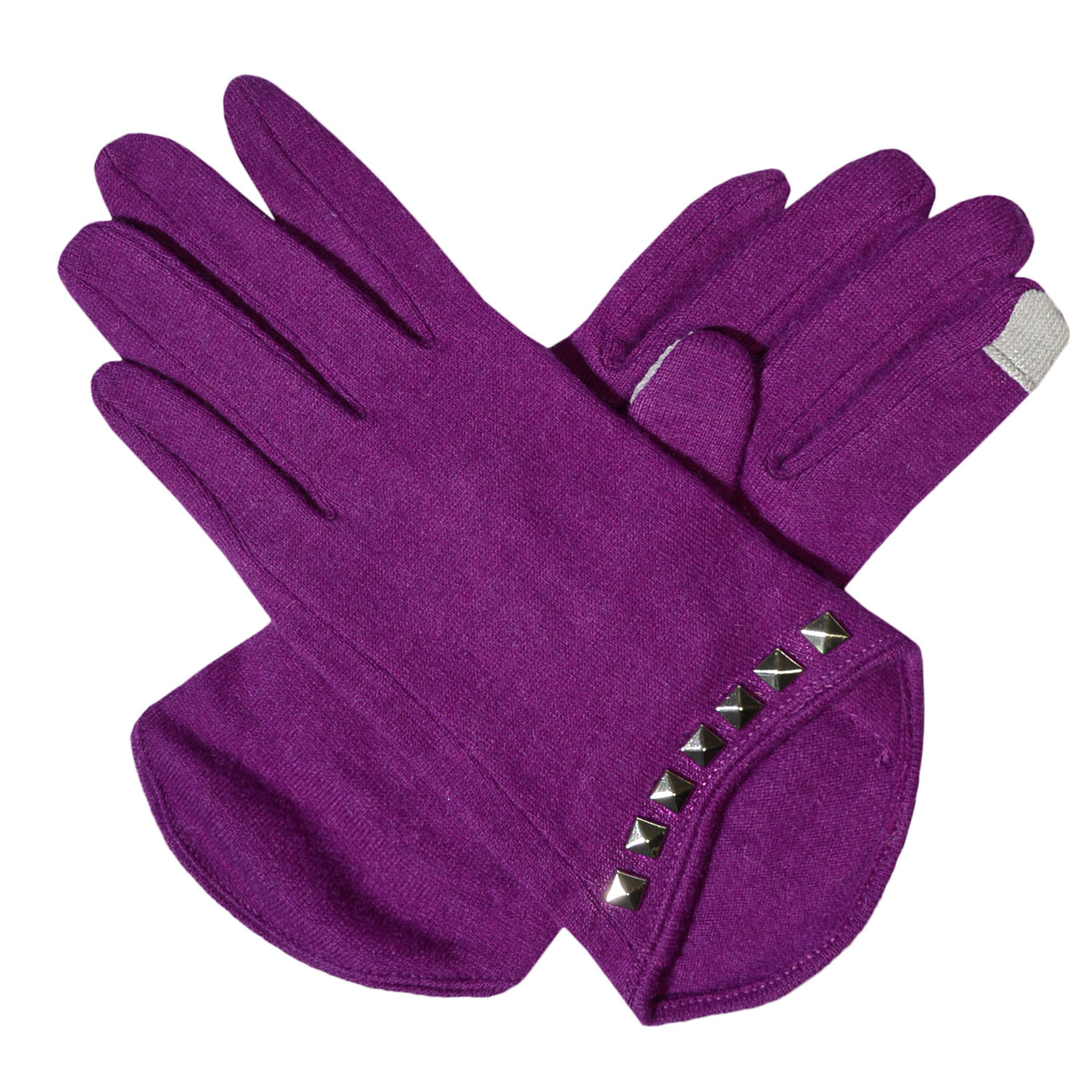 Womens Sudded Touch Screen Gloves Black Grey Purple or Blue Wool Texting Gloves
