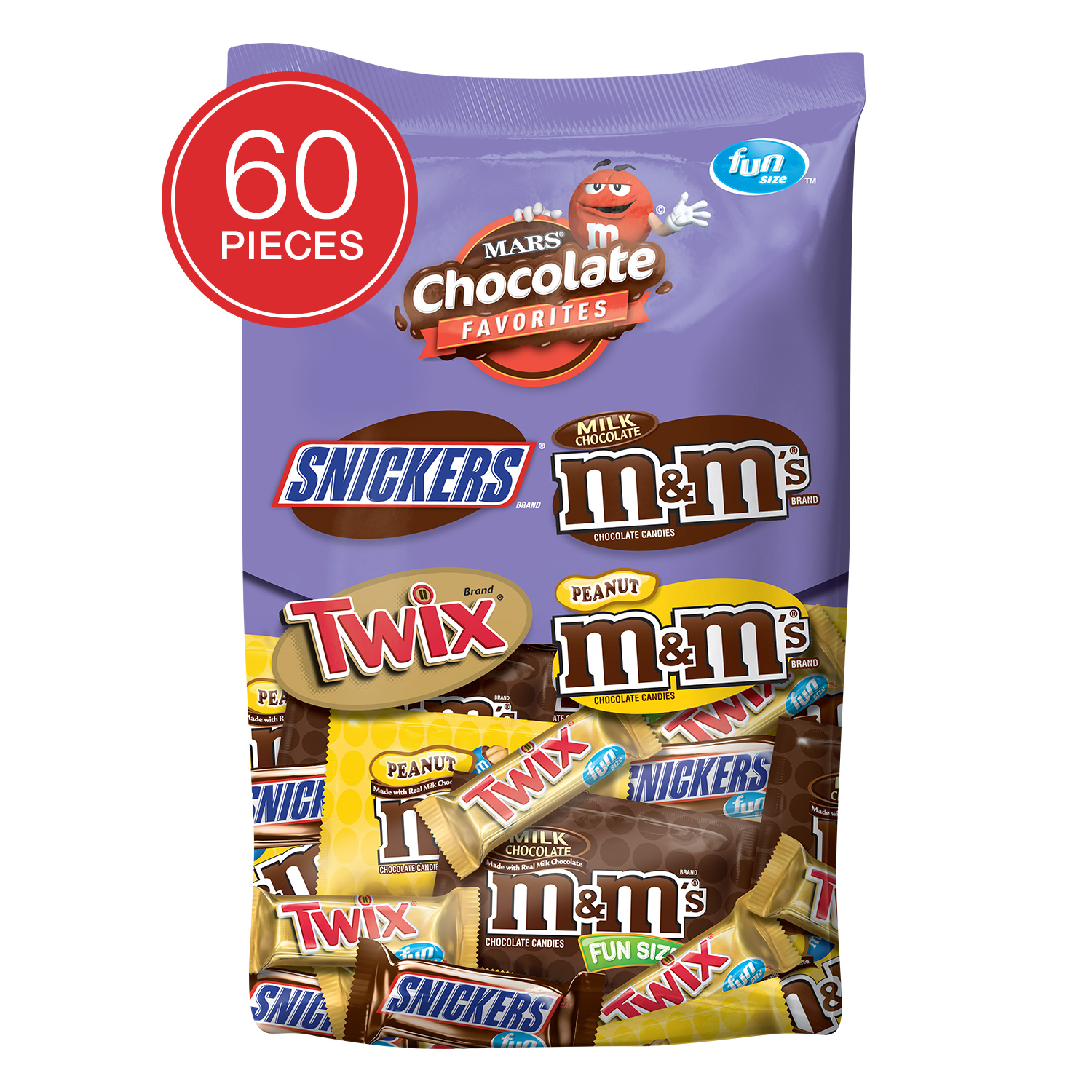 Mars Fun Size Halloween Chocolate Candy Variety Mix, 33.9 Oz., 60 Count