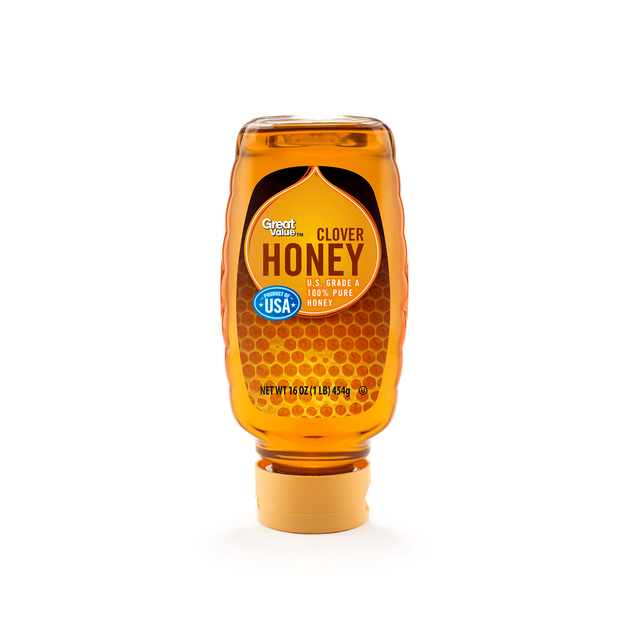 Great Value, U.S.A. Honey, 16 oz Inverted