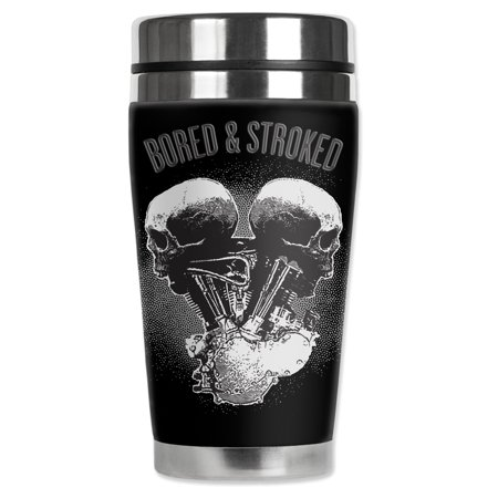 Mugzie brand 16-Ounce Stainless Steel Travel Mug with Insulated Wetsuit Cover - Bored & Stroked
