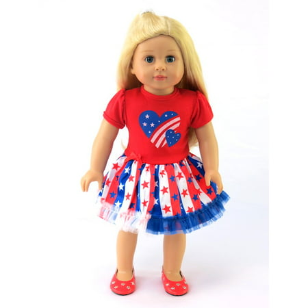 Patriotic Heart Dress | 18 Inch Doll Clothes Heart Dress 18 Doll Clothes