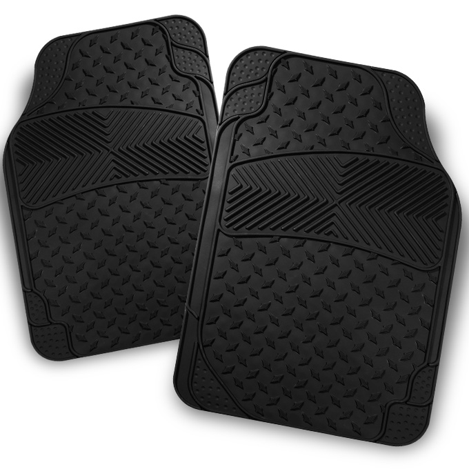 All Weather Metal Style Black Car Front Floor Mats 2 Pieces Liner Heavy Duty by Artzone