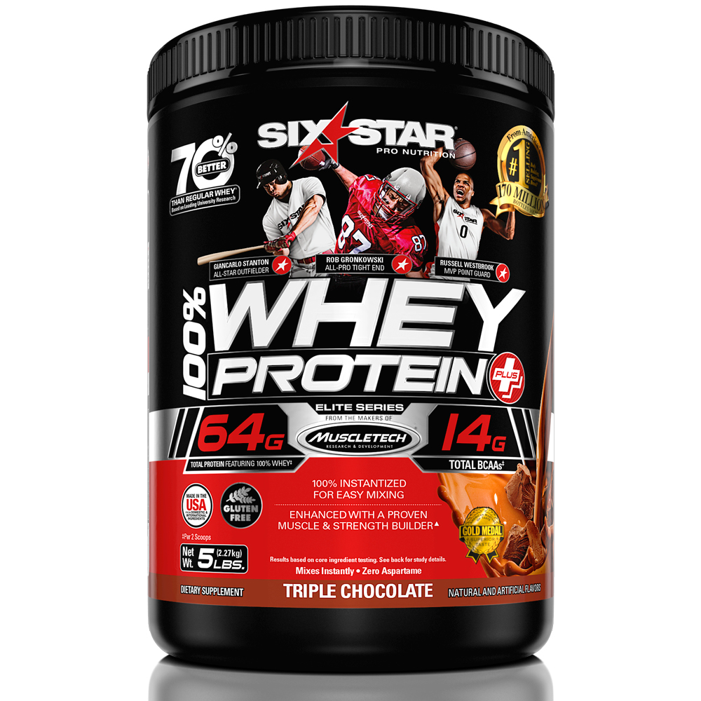 Six Star Whey Protein Plus Dietary Supplement, Triple Chocolate, 5 lbs