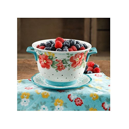 Flea Market 5-Quart Ceramic Colander By The Pioneer Woman Ship from US