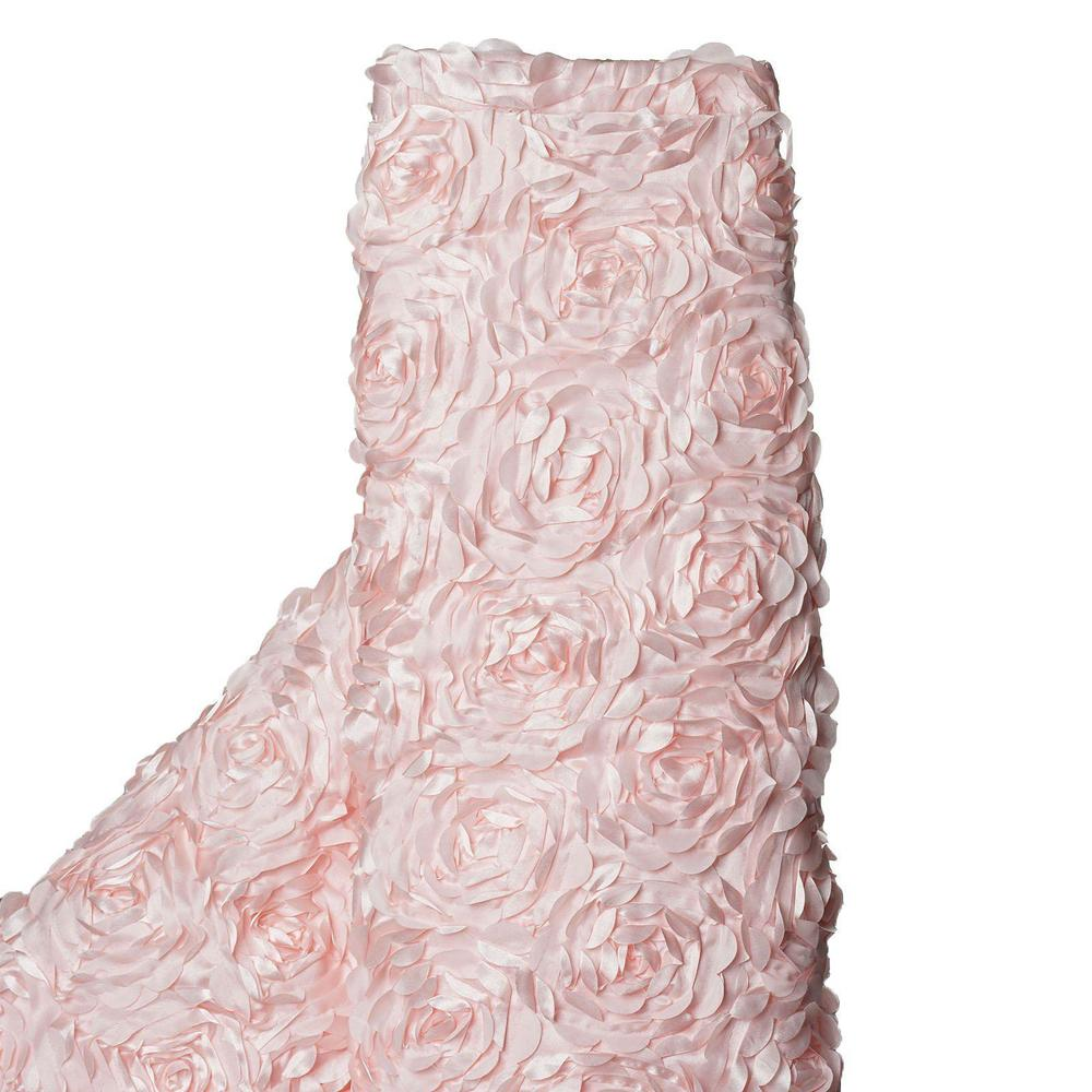"54"" x 4 Yards 3D Flower Rosette Satin Fabric Bolt Drape Panel Stage - Blush"